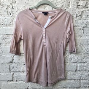 Theory Pink Henley Shirt Sz Small